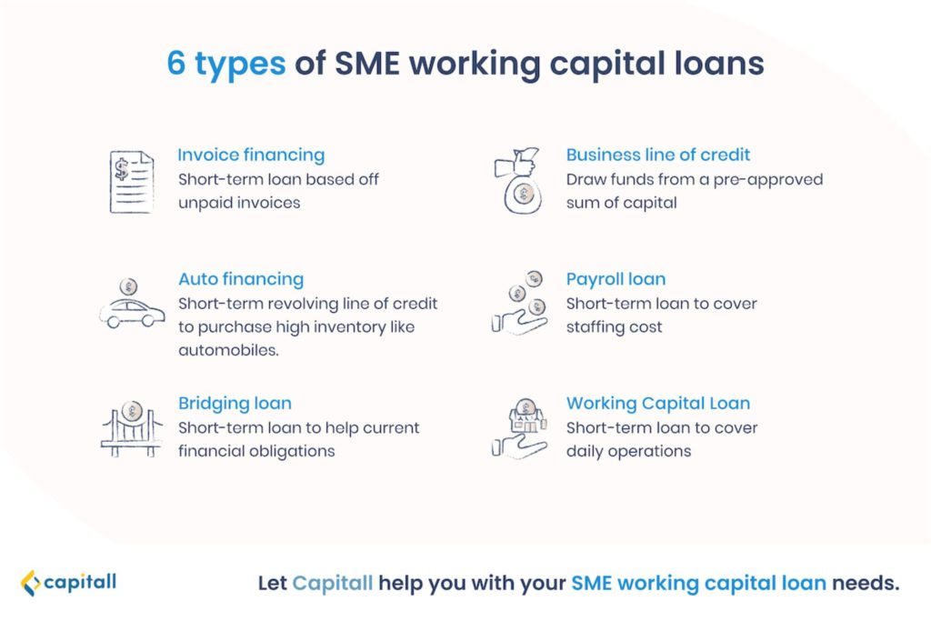 Infographic on the types of sme working capital loans in singapore