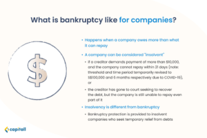 infographic on what bankruptcy in Singapore is like for companies