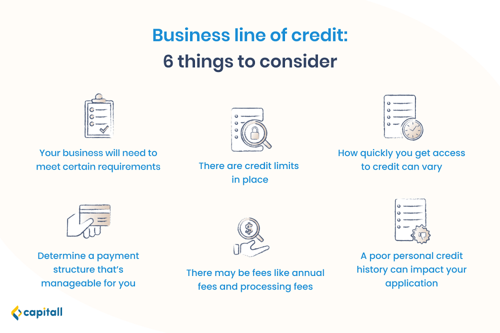 Infographic on 6 factors to consider when taking a business line of credit