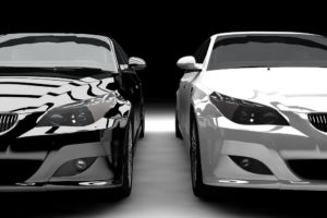 Front view of 2 luxury cars