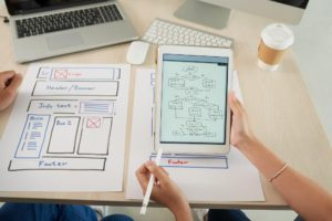 An individual designing a website