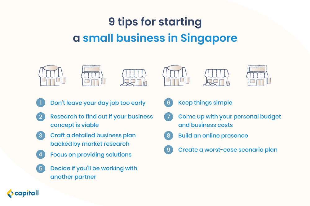 Infographic on tips to start a small business in Singapore