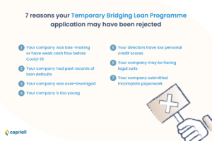 Infographic on possible reasons for the Temporary Bridging Loan Programme application being rejected