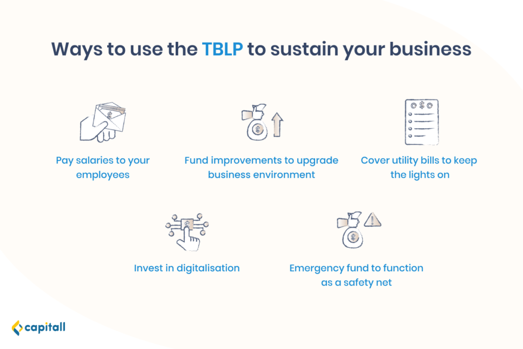 Infographic showing the ways to use the TBLP to sustain business in Singapore
