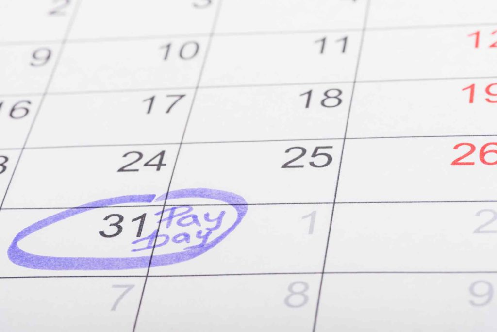 Calendar with a circled date marked 'payday', for when employers disburse payrolls financed using a working capital loan